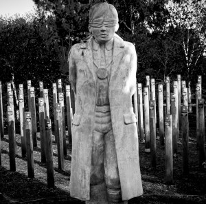 Photo Internet The memorial portrays a young British soldier blindfolded and tied to a stake ready to be shot by a firing squad. The memorial was modelled on the likeness of 17-year-old Private Herbert Burden, who lied about his age to enlist in the armed forces and was later shot for desertion